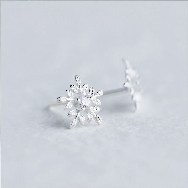 Genuine 925 Sterling Silver Stud Earrings For Women 9mm Snowflake Set Rhinestone Wedding Jewelry