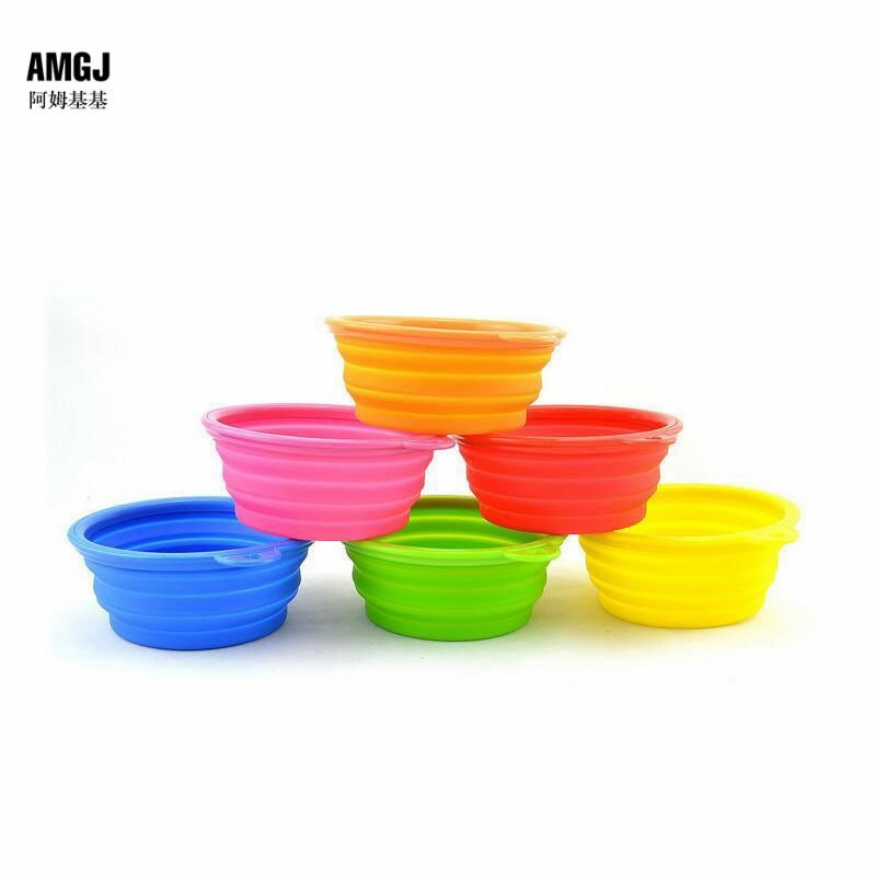 AMGJ Cat Dog Food Bowl Portable Foldable Silicone Drinking Feeding Bowl Puppy Food Water Feeder Outdoor Travelling  Pet Bowl Sup