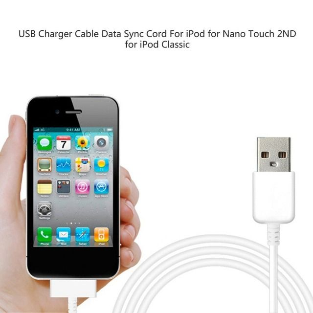 1Pc/Lot Portable USB Charger Sync Data Cable for iPod Nano Touch Data Charging Charger Cable Cord For Ipod White Dropshipping