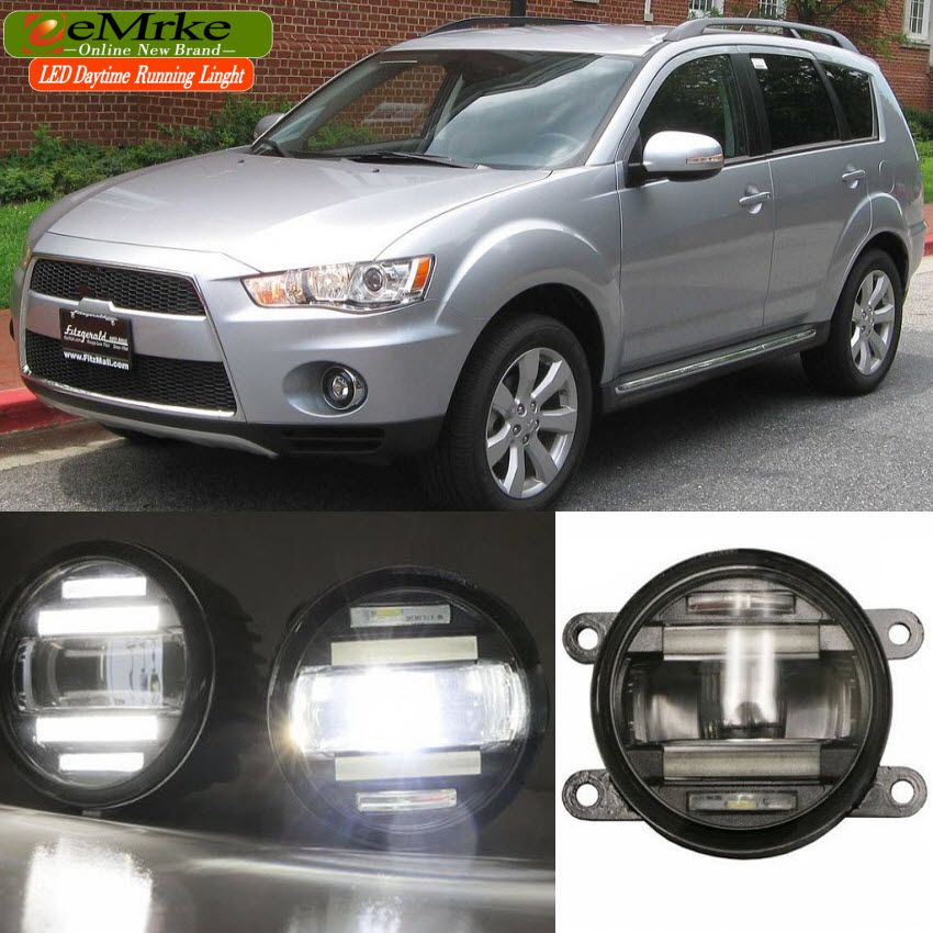 eeMrke Car Styling For Mitsubishi Outlander 2007- up in 1 LED Fog Light Lamp DRL With Lens Daytime Running Lights