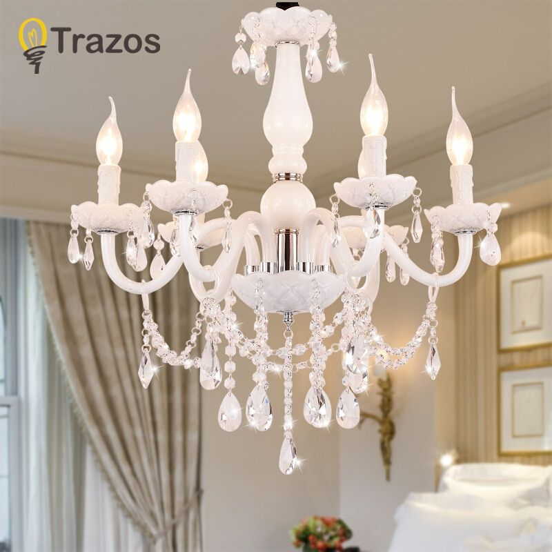 European Style White Crystal Chandeliers Modern LED Chandeliers For Living Room lustres de sala de cristal Wedding decoration