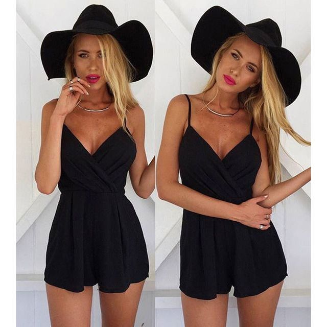 2016 Women Sexy Jumpsuits Backless V Jumpsuit Solid Black Spaghetti Strap Casual Ladies Romper One Piece Shorts Outfit Club Wear
