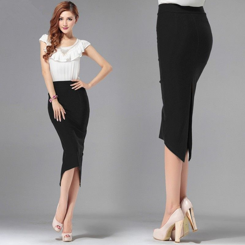 2017 Autumn Winter Back Split Office Skirt High Waist Asymmetrical Black Cotton Elastic Band Plus Size Women's Midi Skirts