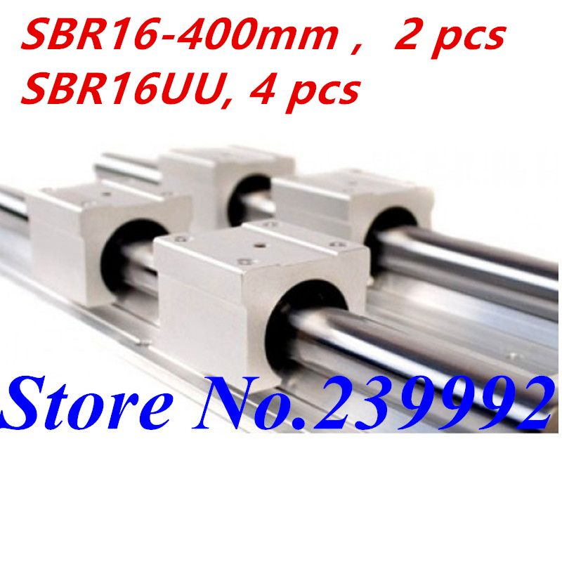 2 pcs SBR16 400mm linear guide and 4 pcs SBR16UU linear bearing blocks,sbr16 length 400mm for CNC parts