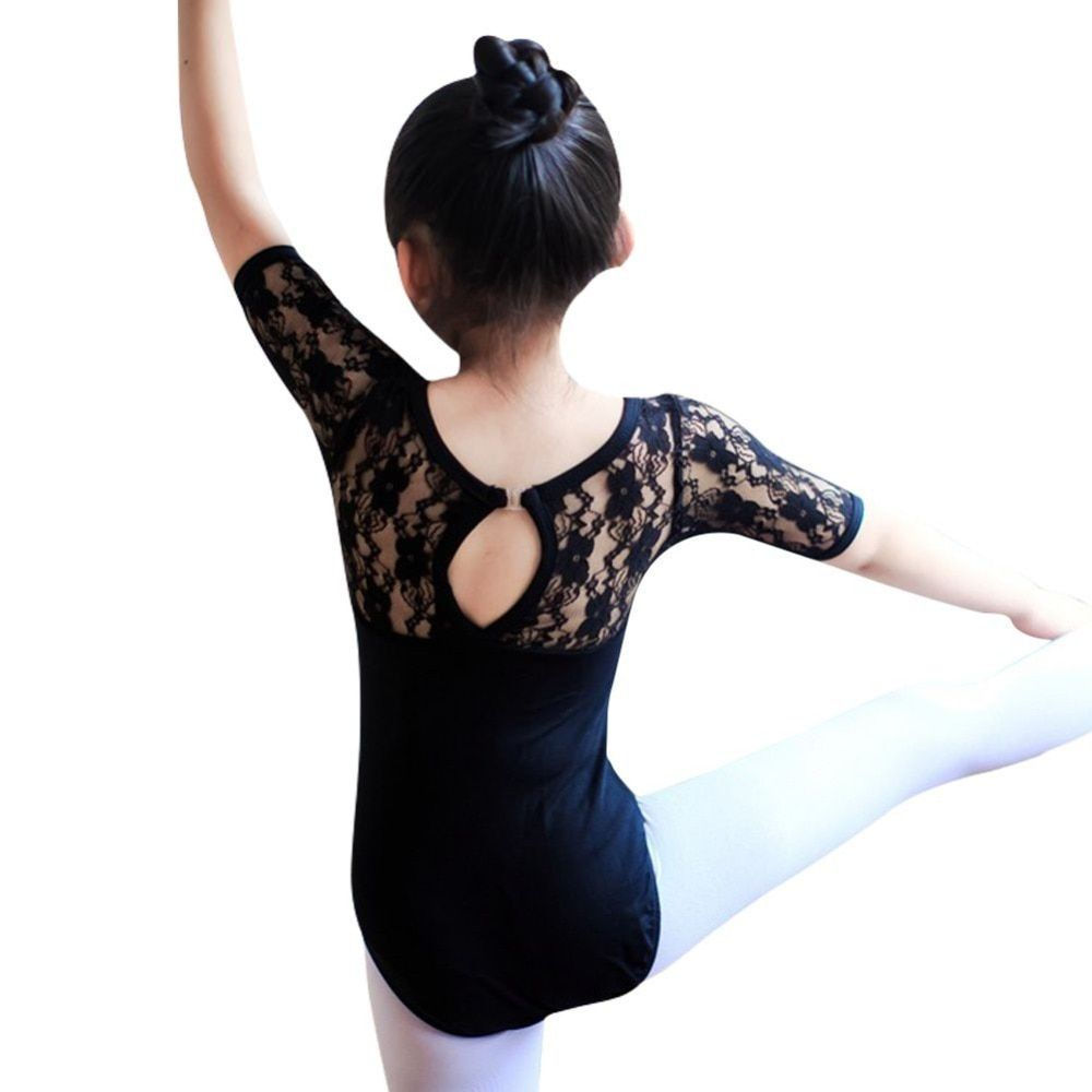 6475 Child Kids Girl Ballet Dance Dress Lace Half Sleeve Gymnastics Leotard Clothes
