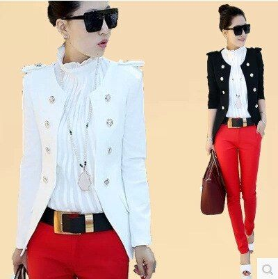 2016 new fashion white black Double-breasted women blazer spring and Autumn New Korean women blazers jacket slim ladies blazers