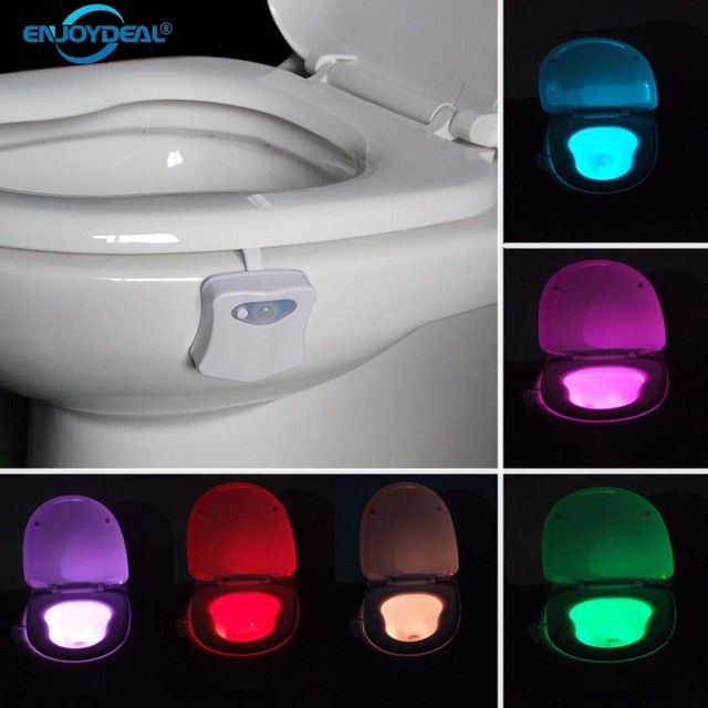 Smart Bathroom Toilet Nightlight LED Body Motion Activated On/Off Seat Sensor Lamp 8 Color PIR Toilet Night Light lamp hot