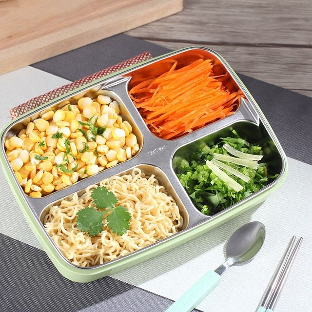 2017 New Rushed Fashion Stainless Steel 3 Color Lunch Box Food Storage Container Lunchbox Bento For Microwave Dinnerware Sets