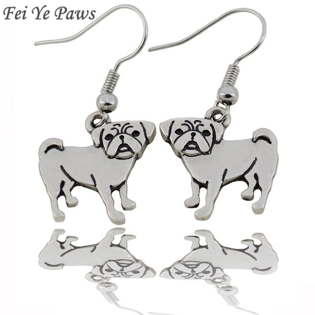 Fei Ye Paws Vintage Cute Pug Charms Drop Earrings Big Statement Long Dangle Earrings For Women Jewelry Christmas Gift