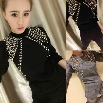 2017 Special Offer Blends Wool Full Embroidery O-neck Crop Top And Skirt Set New Beaded Knitted Suit Haren Pants Two Pieces