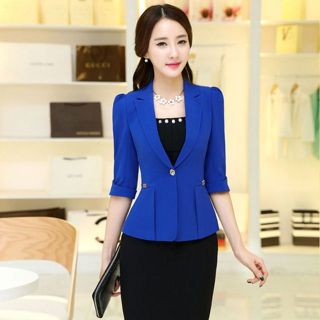 2017 Women's office work Jacket Spring Autumn half sleeve Solid Color Ruffled Blazers feminino Fashion Slim elegant Casual Coat