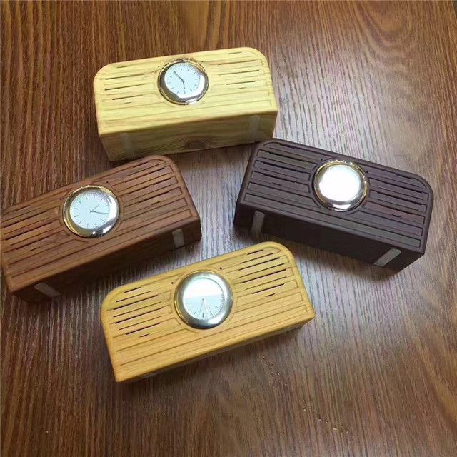 Retro Superior Quality Wooden Grain Retro Watch Bluetooth Speaker Wood Electronic Subwoofer Speakers for FM TF card Samrtphone