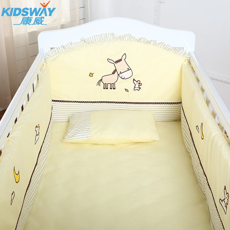 4-5-6pcs crib bedding set 100% combed cotton embroidered crib bedding bumper set,infant nursery set,baby bedding set