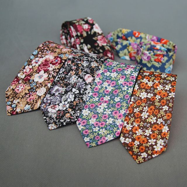Mantieqingway 6cm Wide Cotton Neckties Wedding Flower Neck Tie Business Suits Many Floral Ties Men Neckwear Gravatas Corbatas