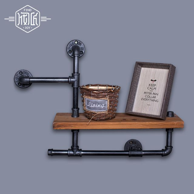 Wood Size 50*15cm Vintage Clothing Display Clothing Store Shelf Hangers Industrial Wrought Iron Clothing Rack Pipes Shelf -Z3