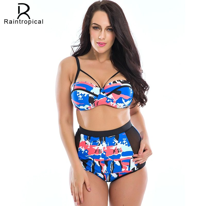 2019 New Floral Print High Waist Swimsuit Push Up Bikini Plus Size Swimwear Women Cut Out  Bikinis For Famme Large Sizes 3XL