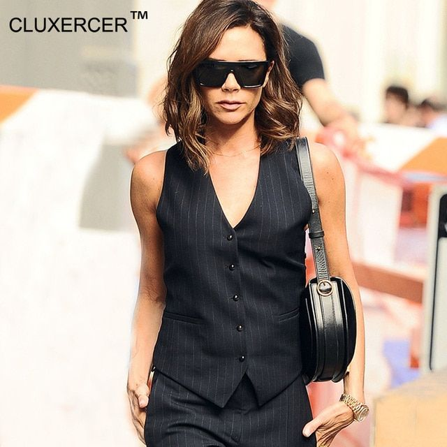 CLUXERCER Brand Business Women Set Suits Two piece sets striped sleeveless Top and Pants Women Suit Lady Office Work Sets
