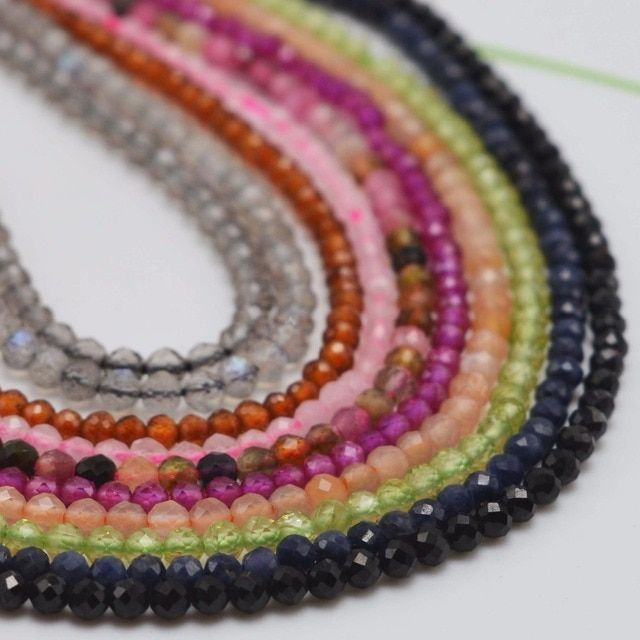 Natural Semi Precious Stone Small Faceted Round Beads 2~2.5mm Wholesale Price - Black Spinel,Tourmaline,Ruby,Sapphire,Garnet,etc