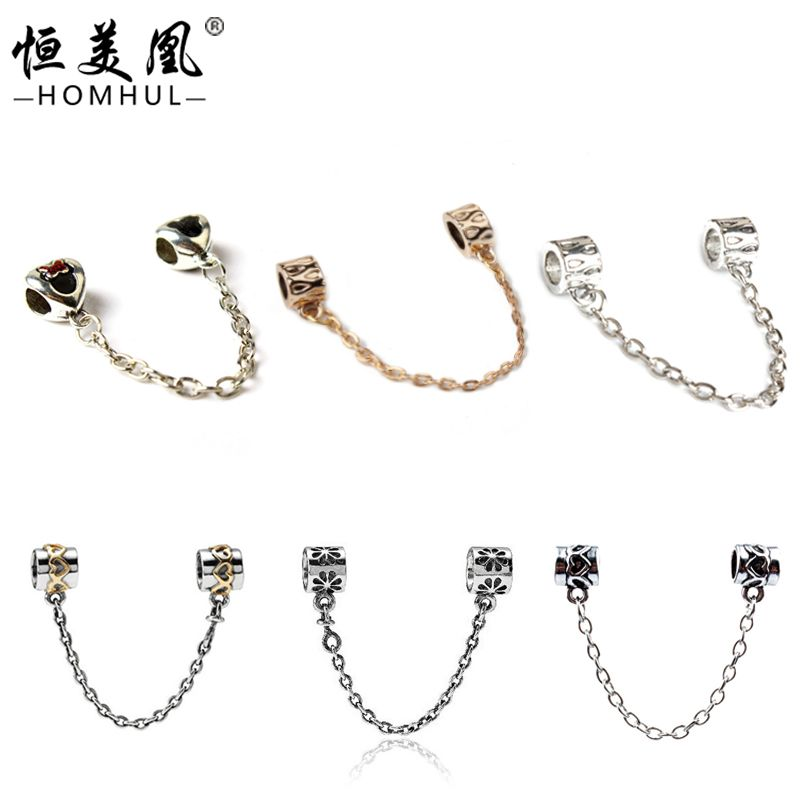 New Free Shipping White Gold Plated Flower Fashion Safe Chain Beads For Bracelets Fits Pandora Bracelet DIY Jewelry AQL01