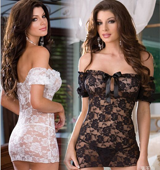 Sexual Product Erotic Lingerie Sash Neck Roses Lace Sheath Night Dress Women Transparent Sexy Sleepwear lenceria erotico AB215