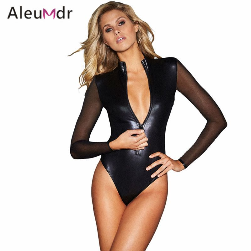 Aleumdr Fashion New 2017 Sexy Teddies Lingerie One Piece Black Mesh Long Sleeve Zip Front Leather Bodysuit For Women LC32125