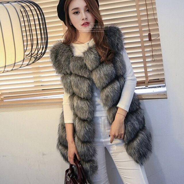 New 2016 Fashion Autumn Winter Coat Warm Women Fur coat Faux Fox Fur Vest High-Grade  Jacket Colete Feminino Plus Size 3XL 4XL