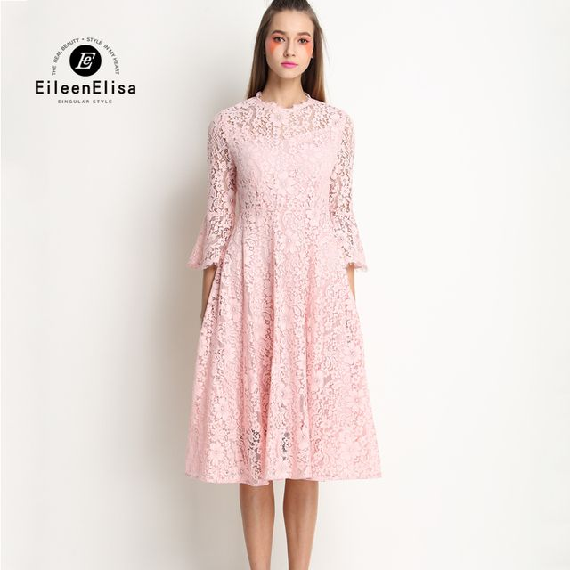 Cute Summer Dress 2017 Women Pink Lace Dress Long Sleeve New Arrive Spring Lace Dress