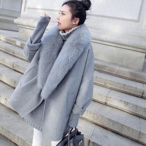 women winter jacket coat cashmere coat female Natrue fluffy large fur coats cloak warm loose cocoon coat casaco feminino autumn