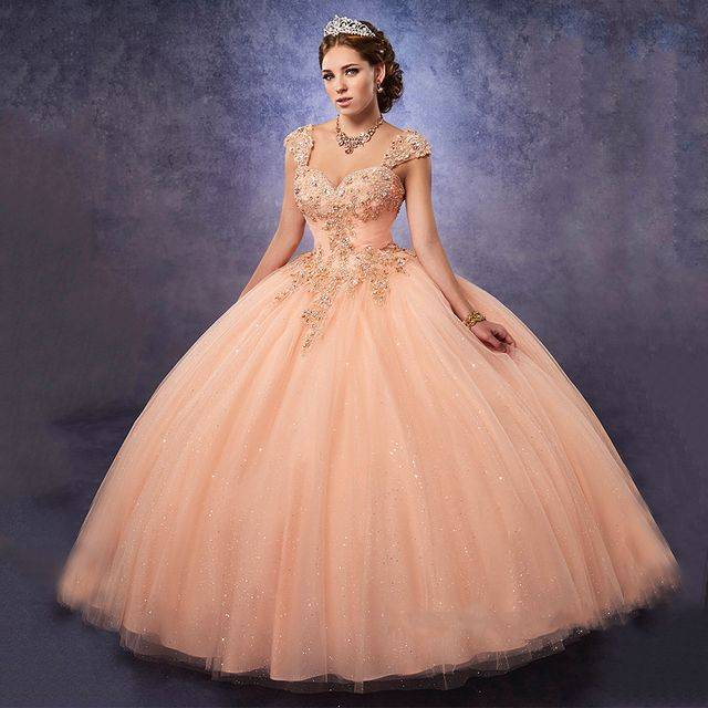 Cheap Masquerade Ball Gowns Peach Quinceanera Dresses 2017 Sparkly Sweet 16 Dresses Gold Applique with Removable/Detached Straps
