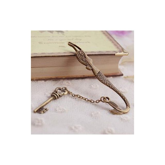1pcs  Vintage Design Alloy Bookmarks for Book Creative retro Mermaid Leaf Metal Bookmark Supplies and Gift