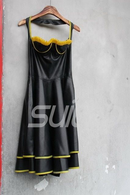 Female 's Latex dress with High Quality Level Latex rubber bra with underwire Real Photo