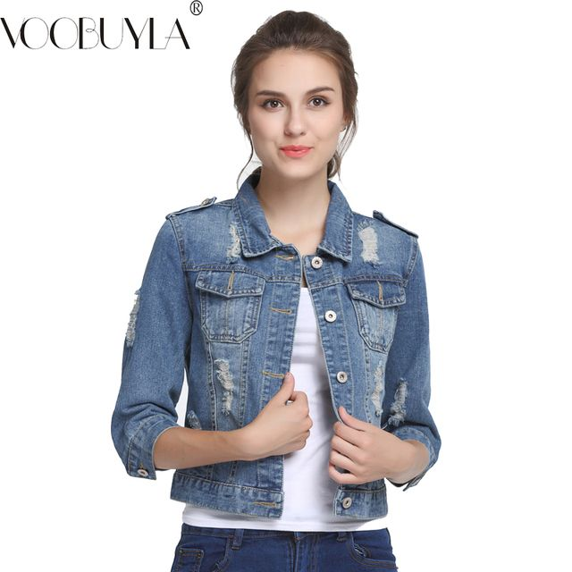 VooBuyLa Brand Plus Size 5XL 6XL Oversize Denim Jacket Women 2018 Spring Slim Cotton Light Washed Long Sleeve Jeans Jacket Coats