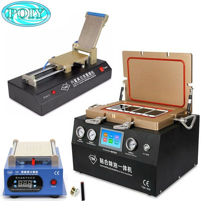 TBK 408 Vacuum Laminating/Bubble Remover  Touch Screen Repair Machine +TBK988 split screen machine + TBK-761 OCA Film Laminating
