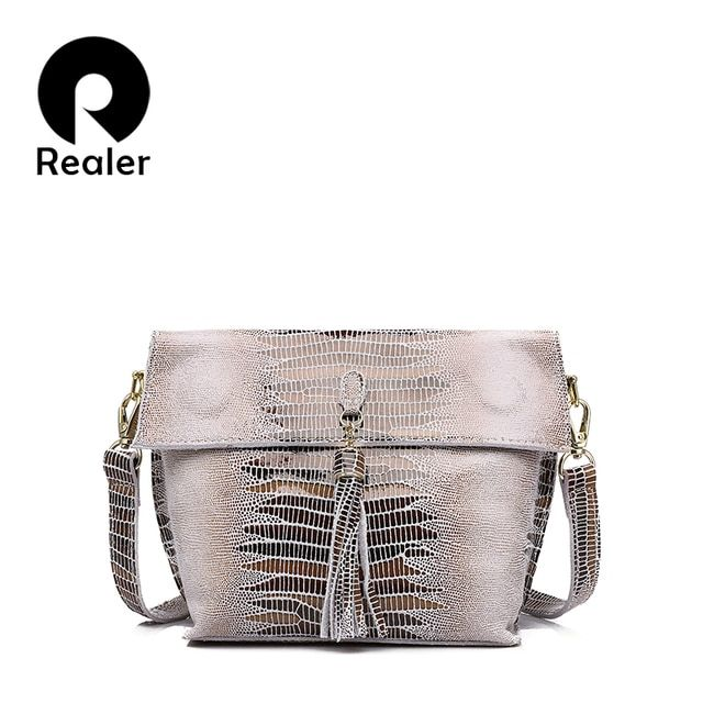 REALER brand women genuine leather bag high quality serpentine pattern leather shoulder bags ladies crossbody bags small handbag