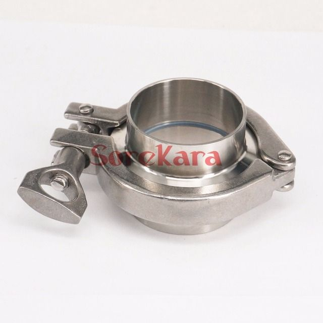 "2"" Tri Clamp x 45mm 1-3/4"" Pipe OD Sanitary Weld Ferrule + Tri Clover + Silicone Gasket 304 Stainless Steel Homebrew Wine Making"