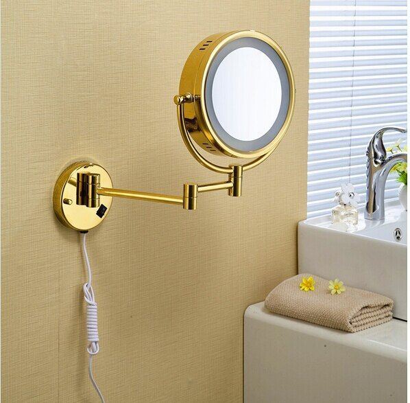 Hot Sale Bathroom Gold Wall Mounted 8 inch Brass 3X/1X Bath Led Mirror Folding Makeup Mirror Cosmetic Mirror Lady Gift