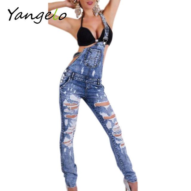 50 XJLA251 Womens Jumpsuit Denim Overalls 2016 Spring Autumn Casual Ripped Hole Loose Pants Ripped Pockets Jeans Coverall XL