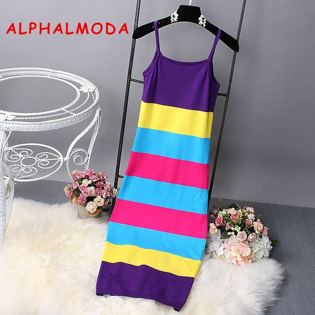 [Alphalmoda] Summer Women New Striped Dress Hit Color Pullovers Knitted Sundress Long Mid-calf Female Summer Sheath Dress