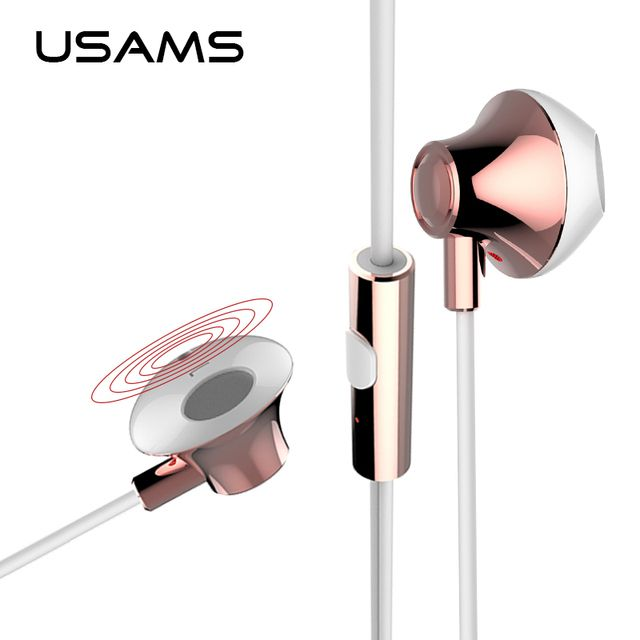 USAMS 3.5mm in-ear Stereo Earphone with Mic Microphone 1.2m HiFi Supper Bass Earphone Earbuds For iPhone iPad Samsung
