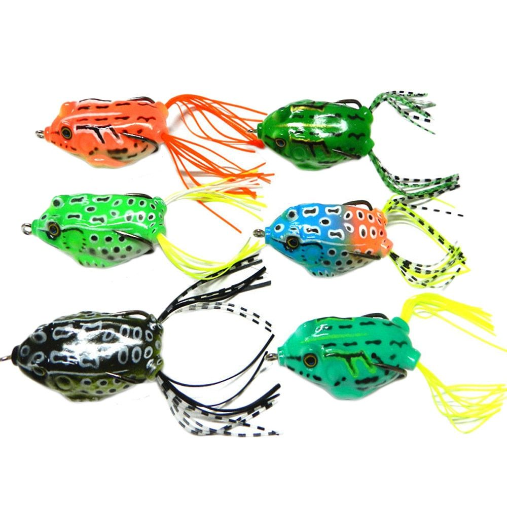 Hot Sale Bass Spoon Crank Saltwater Tackle 6pcs Frog Snakeheads Bait Fishing Lures Bass Soft Bait Trace Coated Fishing Lure