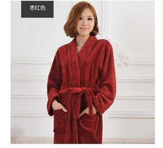 Winter hot sell flannel bathrobes coral fleece robe women's long-sleeve bathrobes thickening plus size home casual sleepwear