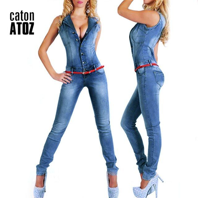 catonATOZ 2043 New Arrival 2017 Sleeveless Jumpsuit Sexy Bodysuit For Women Denim Overalls Rompers Girls Pants Jeans For Woman