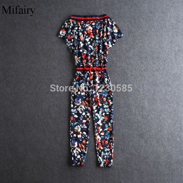 Frees Shipping 2016 Boat Neck Short Sleeves Print Women's Jumpsuits Fashion  Runway Gown   31405