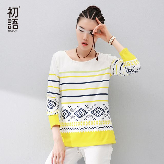 Toyouth Ladies T-Shirts European Style Striped Geometric Printed Pattern O-Neck Autumn Long Sleeve Cotton T-Shirts Female Tops