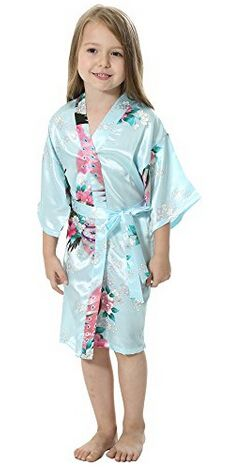 RB009 Peacock Kids Robe Satin Children Kimono Robes Bridesmaid Flower Girl Dress Silk children's bathrobe Nightgown Kimono robe