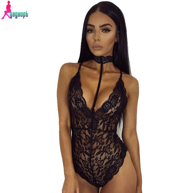 Gagaopt Lace Bodysuit Women V neck Halter Overalls Bandage Sexy Mulheres Bodysuit Sleeveless Rompers Womens Jumpsuit 2017