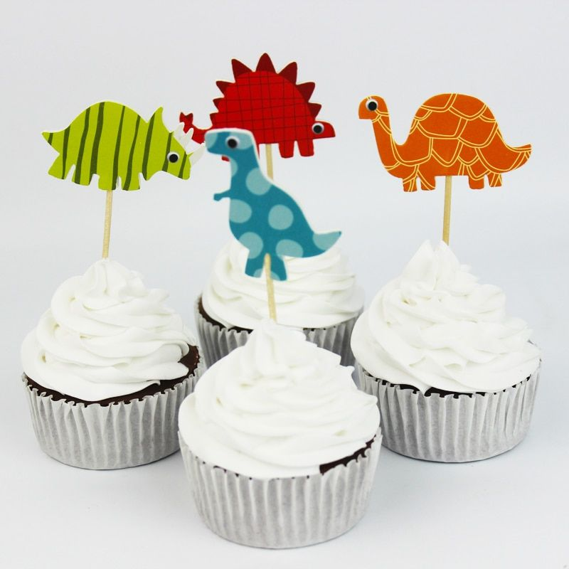24pcs Dinosaur   Cupcake Topper Picks,birthday/wedding party decorations,kids evnent party favors,Party decoration