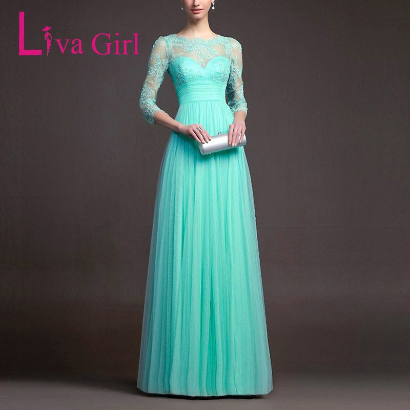 Liva Girl Formal Elegant Women Floor-Length Evening Wedding Party Dress Chiffon Lace Perspective Long Hostess Maxi Dresses Robe