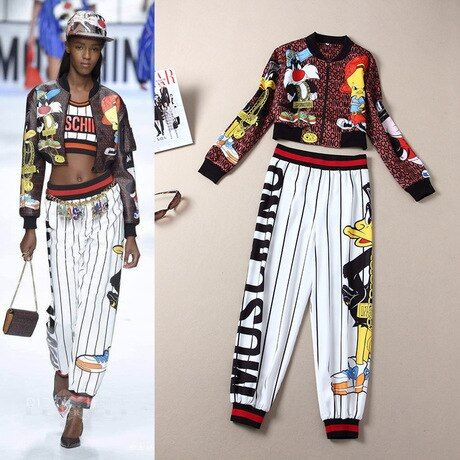 Women Two Piece Outfits 2016 Autumn Winter Runway Brand Novelty Cartoon Print Pattern Cropped Jacket Striped Wide Leg Pants 4113