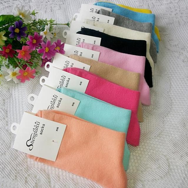 High Quality 10 Colors Women Solid Color 100% Cotton Socks For Ladies 2014 Spring Autumn Brand In Tube Socks 10pairs/lot S254